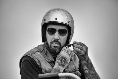 Josh Kohn of the Gasket Goons prepares to race his Harley.